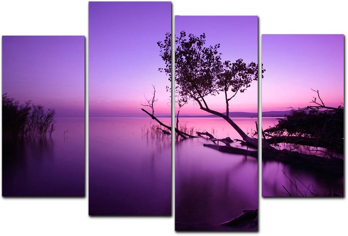Purple Lake Art on Canvas Picture Contemporary Modern Home Decor Wall Art Print