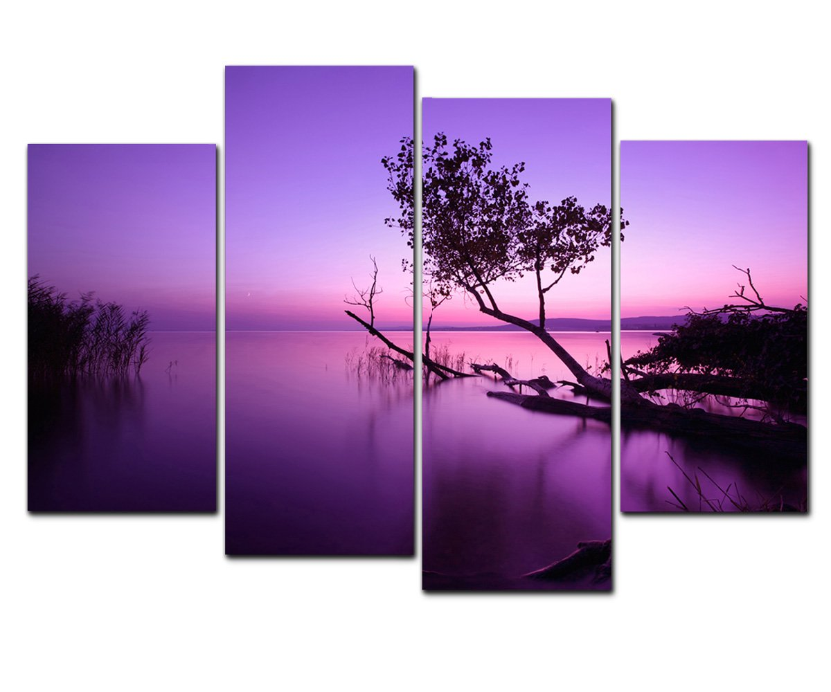 amazoncom wieco art purple lake modern 4 piece stretched and framed giclee canvas prints artwork contemporary beach pictures paintings on canvas wall - Discount Framed Art