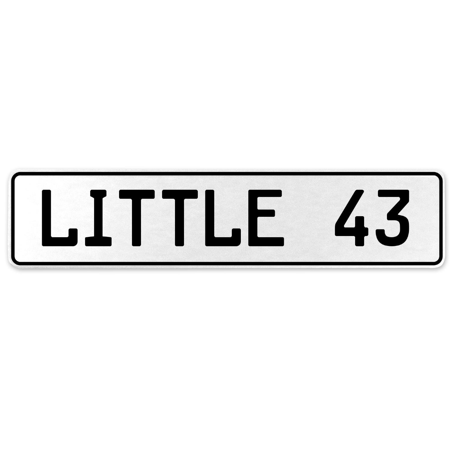 Vintage Parts 556323 Little 43 White Stamped Aluminum European License Plate