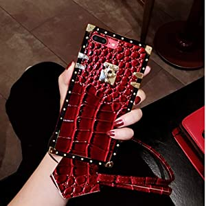 KAPADSON for iPhone 7 Plus/iPhone 8 Plus Newest Crocodile Skin Design TPU+ PU Leather Gold Square Corner Back Case Flexible Cover with Strap - RED
