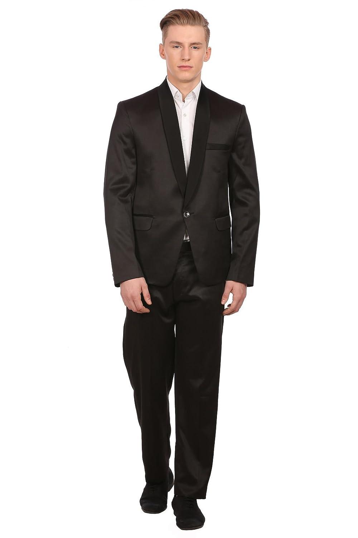 Wintage Men's Poly Blend Notched Lapel Black Tuxedo 2Pc Suit Blacktux2pc