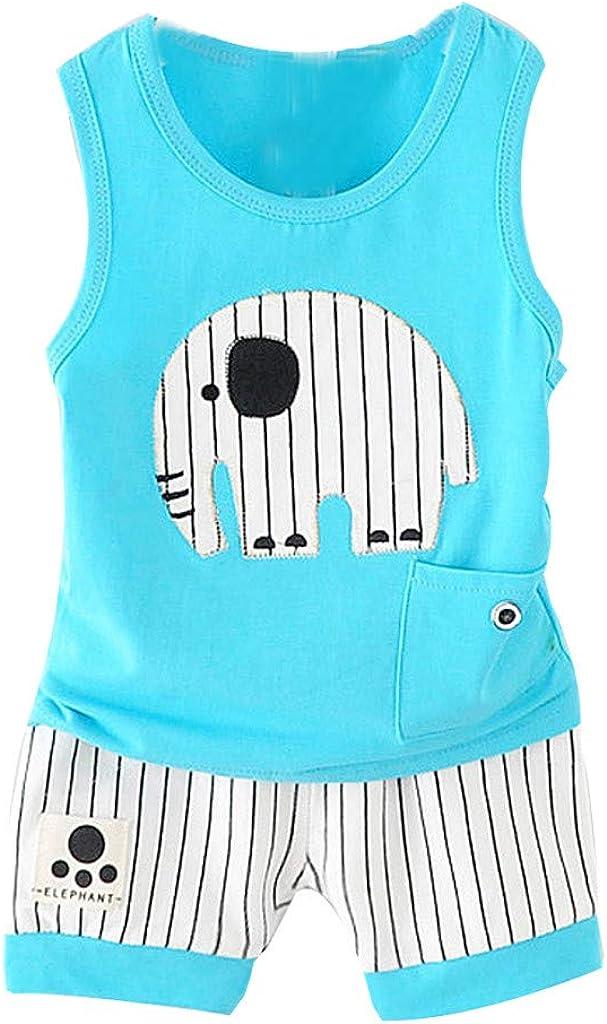Verano Camisa sin Mangas Algodon ni/ñas ni/ños Camiseta Rayas Tirantes Bodies Blusa Tops y Pantalones Cortos Animales para beb/é ni/ños