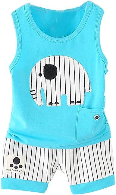 Tops y Pantalones Cortos Animales para bebé niños, Verano Camisa sin Mangas Algodon niñas niños Camiseta Rayas Tirantes Bodies Blusa