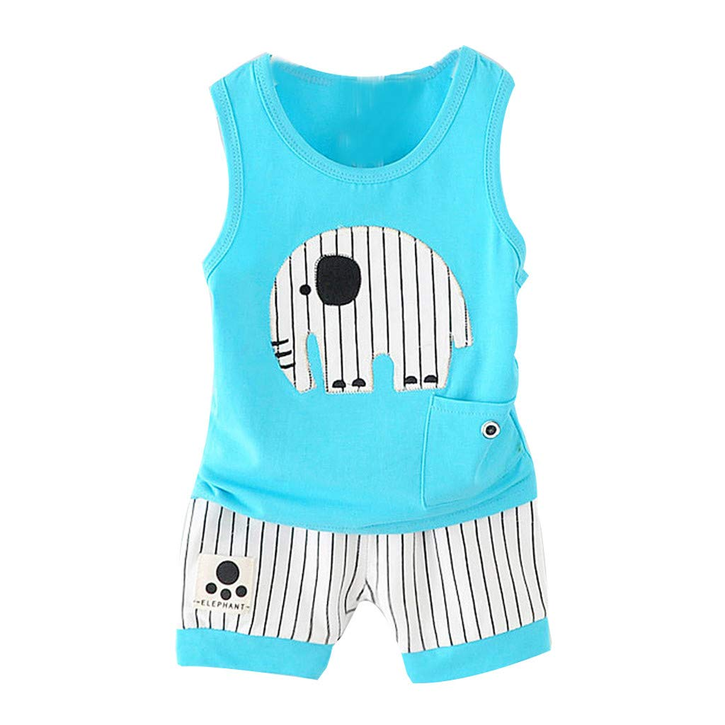 Kids Boy Short Vest Suit, Baby Summer O-Neck Cartoon Stripe Shorts Sport Outfits Clothes Set For 0-3 Years (6-12 Months, Blue)