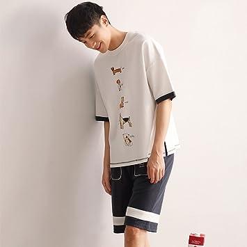 Pijama GAODUZI Amantes del Algodón del Verano Versión Coreana de la Talla Floja del Camisón Ropa
