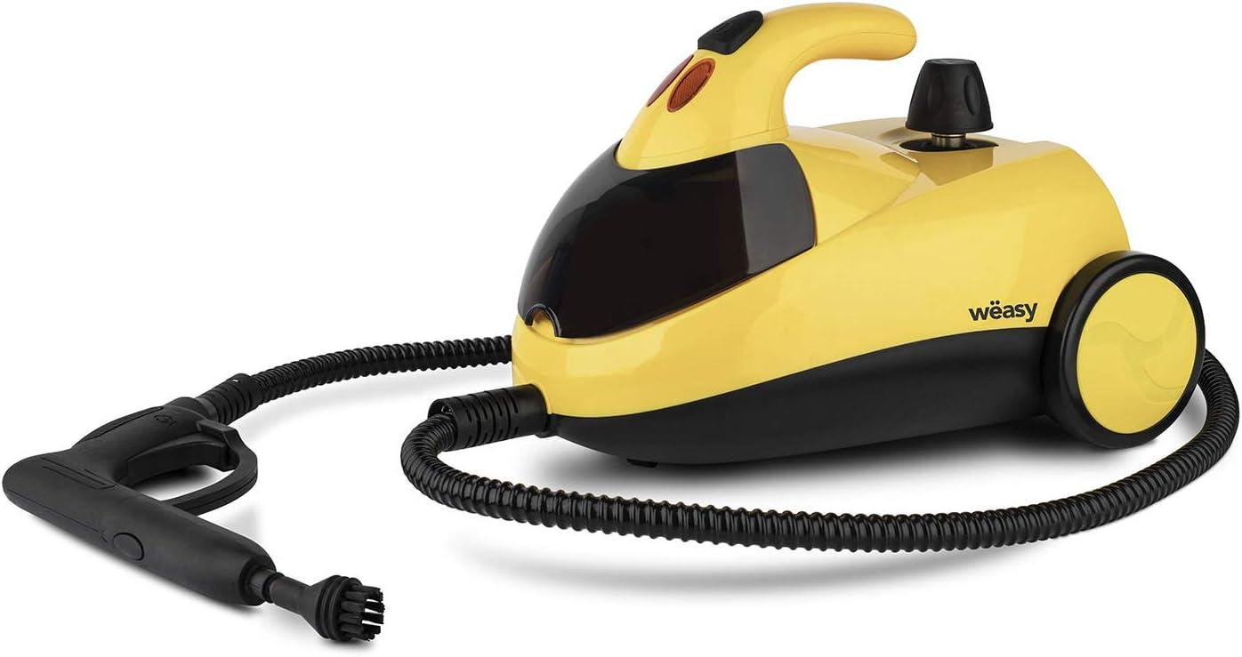 Winkel Wëasy NVP15 Limpiador a Vapor, Vaporeta 1500W, 4 Bares, Autonomía de 45 min, Capacidad de Agua de 1,5 L, Compartimento Interno, Amarillo, Plástico, 1500 W, 1.5 litros