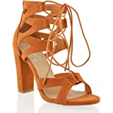 ESSEX GLAM Damen schnitten ferse Pfennigabsatz Sandalen im Gladiatorstil zum Schnüren Zehenfrei sandalen