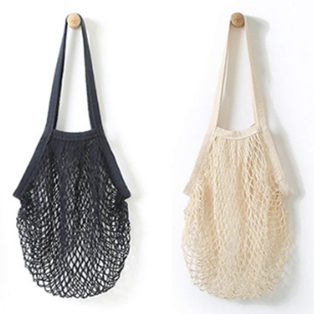SODIAL 2Pcs Portable Reusable Mesh Cotton Net String Bag Organizer Shopping Tote Handbag Fruit Storage Shopper New (Black, Beige)