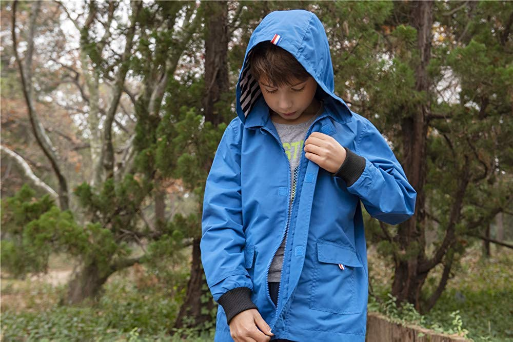 Hiheart Boys Waterproof Hooded Jackets Cotton Lined Rain Jackets Blue 4//5
