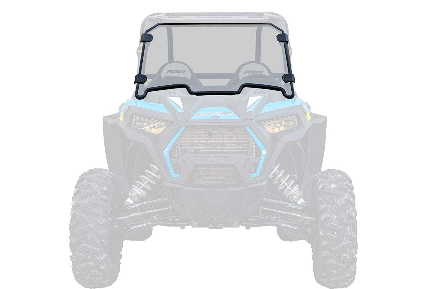 SuperATV Heavy Duty Clear Scratch Resistant Full Windshield for Polaris RZR XP Turbo 2016-2018 4 Turbo Installs in 5 Minutes!