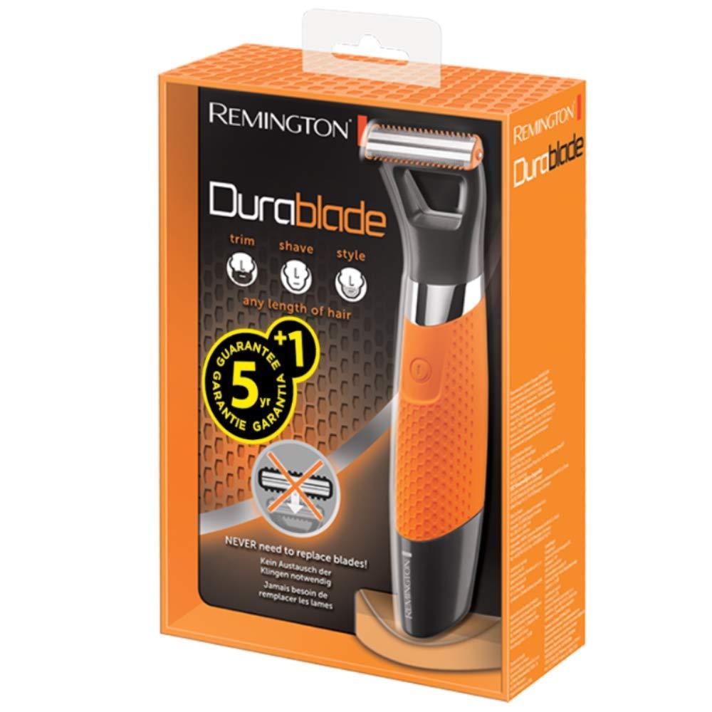 Remington MB050 Durablade - Recortador de barba, perfila, recorta y afeita, no necesita recambios, recargable y resistente al agua, batería