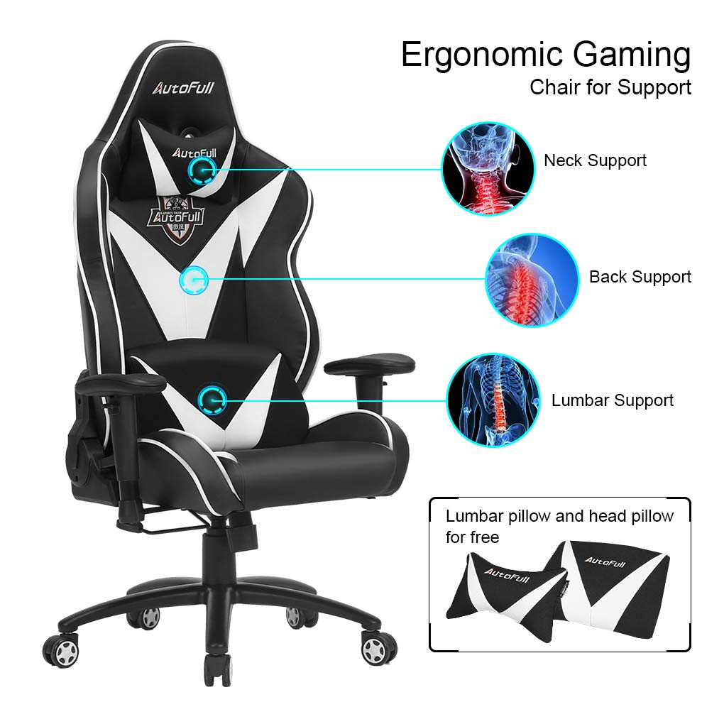 AutoFull Pro Big and Tall Gaming Office Chair Ergonomic High Back PU Leather Bucket Seat Racing Desk White Chairs with Lumbar Support 3-Years Warranty