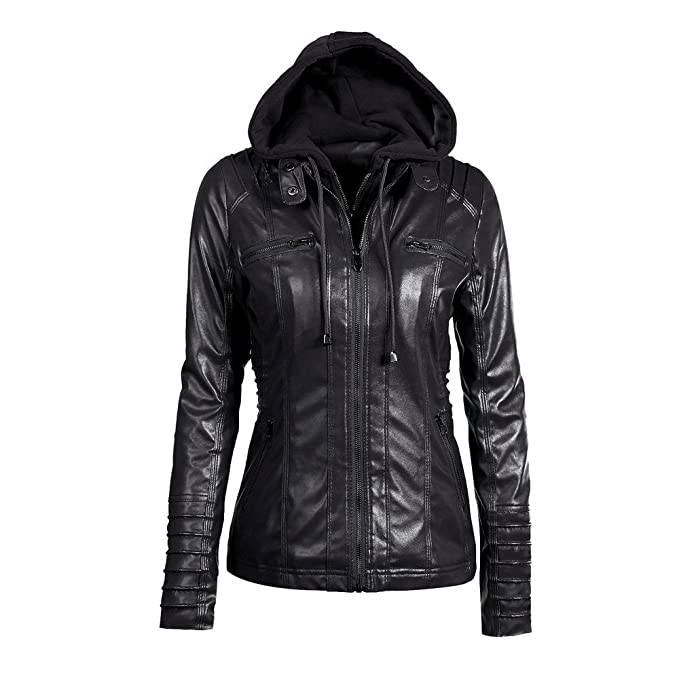 Ulanda Womens Slim Hooded Faux Leather Jacket Lapel ...