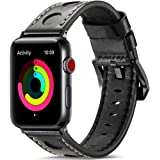 Watruer Apple Watch Band, 44mm 42mm 40mm 38mm Genuine Leather iwatch Strap Replacement Band with Stainless Metal Clasp for Apple Watch Series 4 Series 3 Series 2 Series 1 Sport and Edition