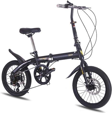 16 Pulgadas De La Bici Plegable De 6 Velocidades, Marco De Aluminio Ultra Ligero De Aleación De Engranajes De Bicicletas Plegables De Cercanías Hombres Y Mujeres Estudiantes De Secundaria Junior,Negro: Amazon.es: Deportes