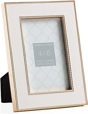 Torre & Tagus 902507A Regis Gold Trim White Enamel Frame, 4 x 6, Gold/White