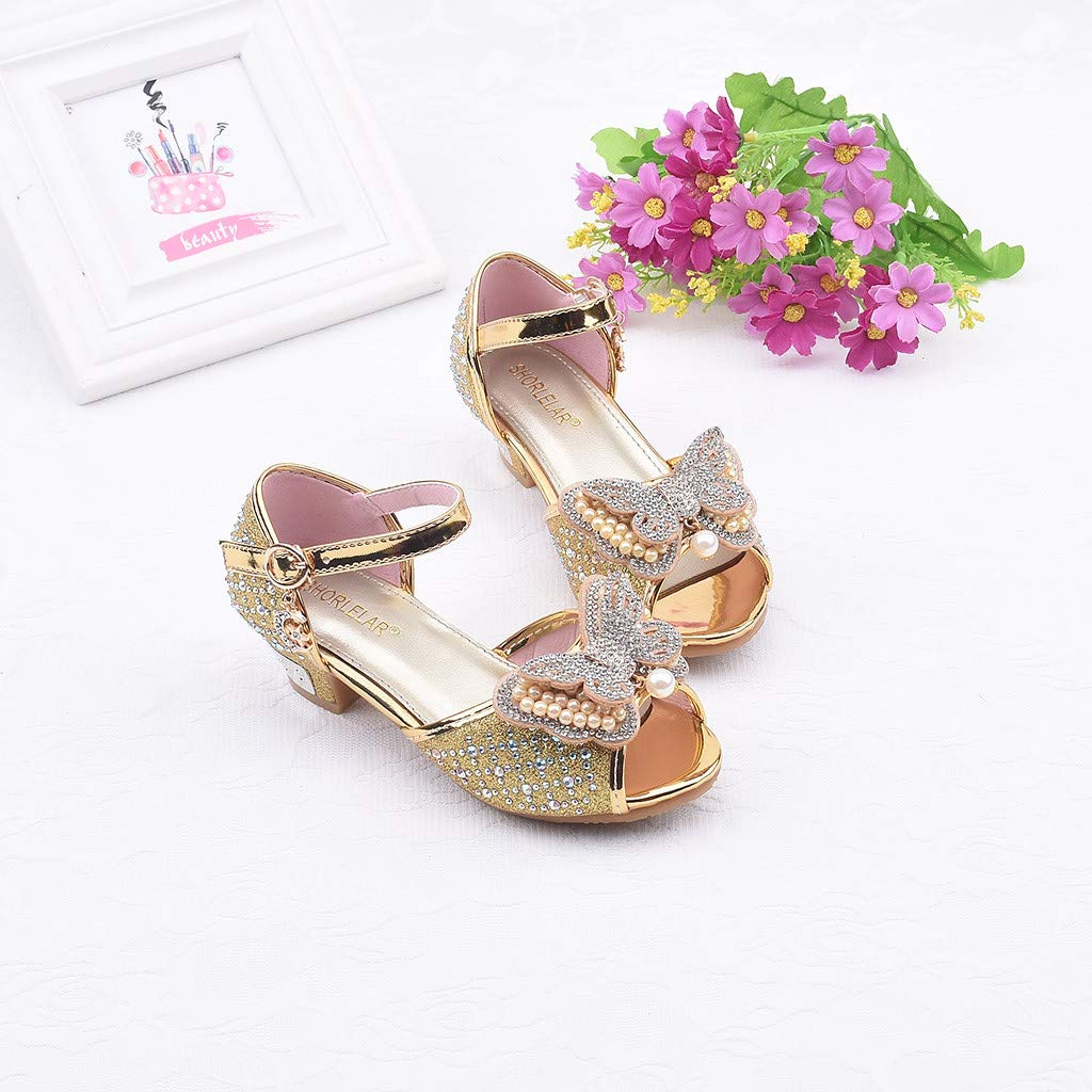 Kids Girls Pearl Butterfly-Knot Crystal Single Princess Shoes Bling Sequins Thick Heel Sandals Randolly Toddler Shoes