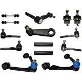 "14-Piece 4x4 Only Front Suspension Kit, Upper Control Arms, Lower Ball Joints, Inner and Outer Tie Rod Ends, Sway Bar End Links, Adjustment Sleeves, Pitman and Idler Arm w/2.5"" Bolt Pattern"