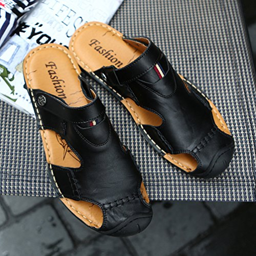 Sandals Slip Slippers Toe Flip Beach Closed On Leather LINNUO Shoes Roman Black Casual Outdoor Breathable Flop Men's Vintage Fisherman Faux X4PxvwgnqE