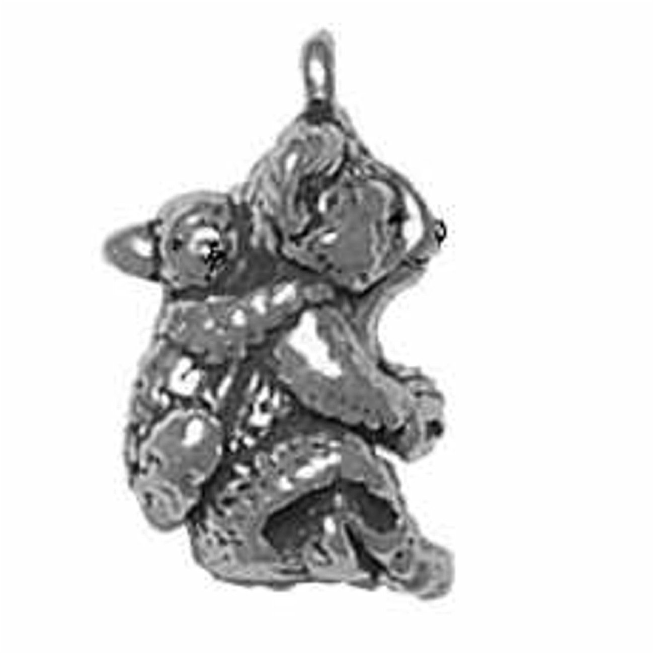 Sterling Silver Girls .8mm Box Chain 3D Mother Baby Koala Bears Pendant Necklace