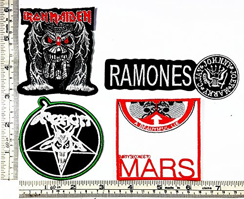 Set Rock music 374 IRON MAIDEN Ramones Venom Seconds To Mars Heavy Metal Music Punk Band Logo Embroidered Iron on Hat Hoodie Backpack Ideal for Birthday Gift - Venom Costume Diy