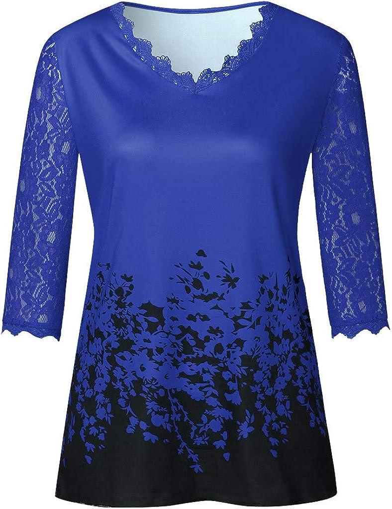 Women 3//4 Sleeve Shirts Lace Leopard Print Fashion Gradient Plus Size Blouses Summer Cool Elegant Casual Sale Tee Tops