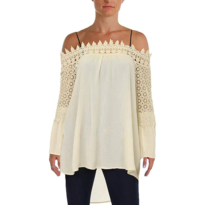 6756c7e301e56 Design History Womens Lace-Trim Off-The-Shoulder Blouse Ivory L at ...