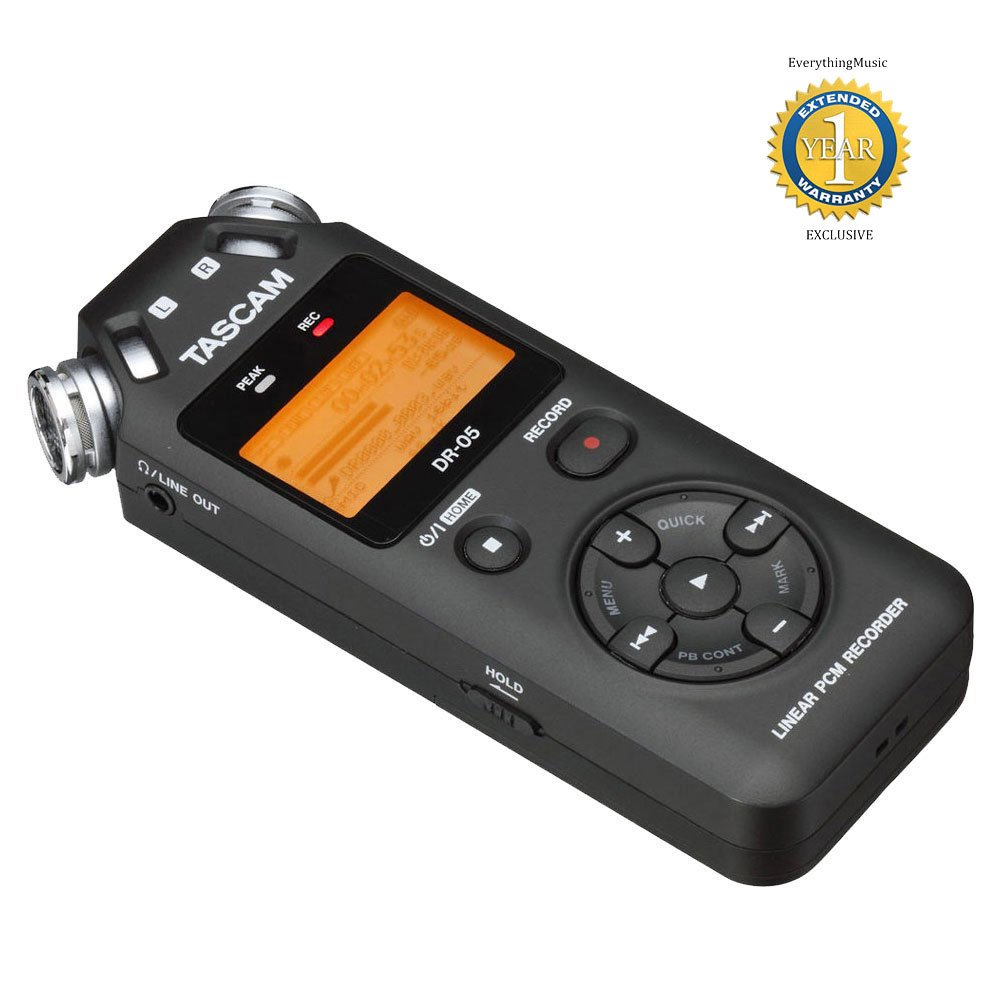 Tascam DR-05 Portable Handheld Digital Audio Recorder Black with 1 Year Free Extended Warranty by Tascam