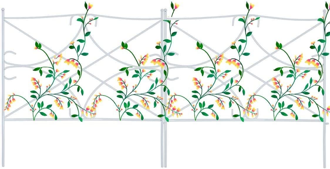 """Mr.Garden Edging Fence Metal Decorative Garden Barrier Panels 7PACK 24""""x24"""", Dog Outdoor Fence, Coated Folding Border Fences for Garden Patio Tree Ring, White (Without Decorative Flowers)"""