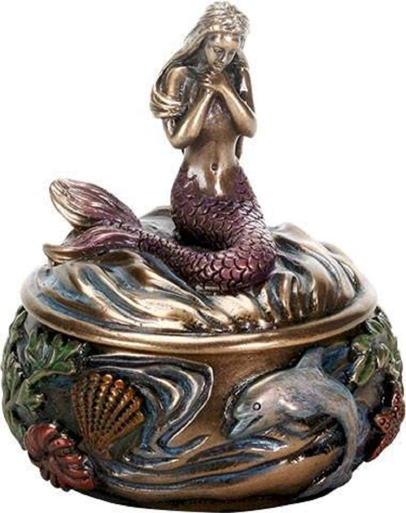SUMMIT COLLECTION Decorative Art Nouveau Style Sirens of The Sea Mermaid Holding Hand Over Chest Praying Mermaid Fantasy Resin Jewelry Trinket Box 3.25 Inch Tall Faux Bronze