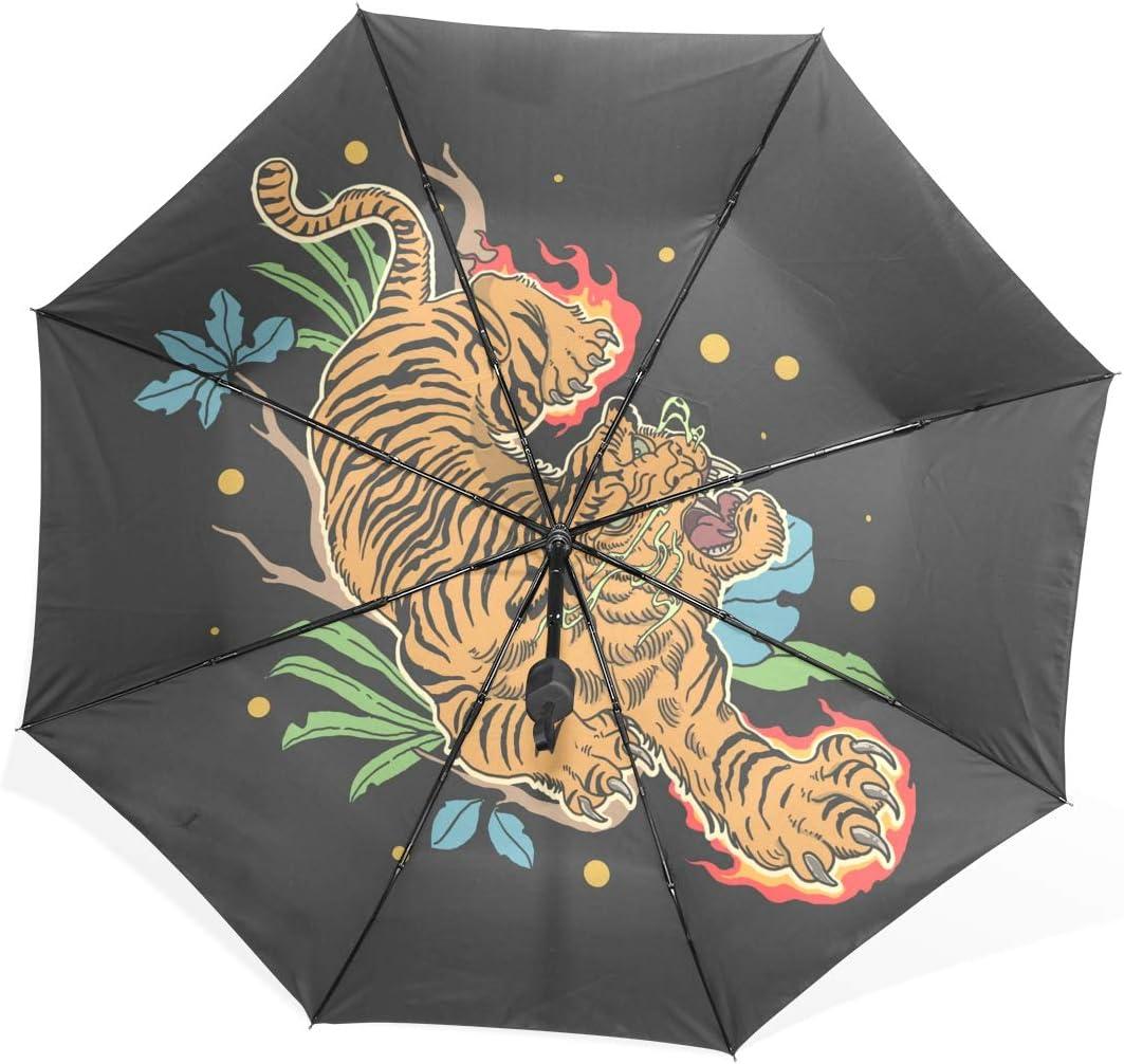 Golden Tiger Classic Foldable Umbrella UV Protection Folding Sun Blocking Umbrellas for Beach Travel Kids Women Boys Girls