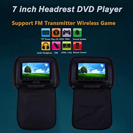 Image Unavailable Not Available For Color IDS Home Paired XD783 7 Inch Universal Car Headrest DVD Player 800 X 480 LCD Screen