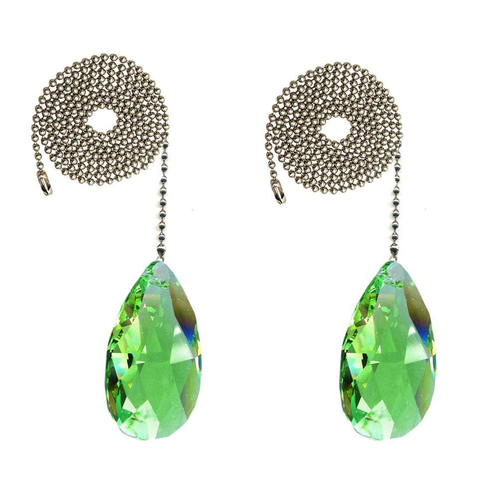 CrystalPlace Crystal Fan Pull Chain 2-inch Swarovski Light Peridot Almond Prism Decorative Ceiling Fan Chain Pull Set of 2