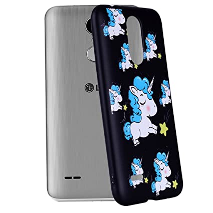 Yunbaozi Funda Compatible para LG K8 2017 Embossing Case Carcasa Suave Impresión 3D Caucho TPU Flexible Cáscara Delgado Ligero Alivio Negro Carcasa LG ...
