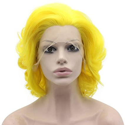 Peluca de encaje sintético corto y rizado, color amarillo