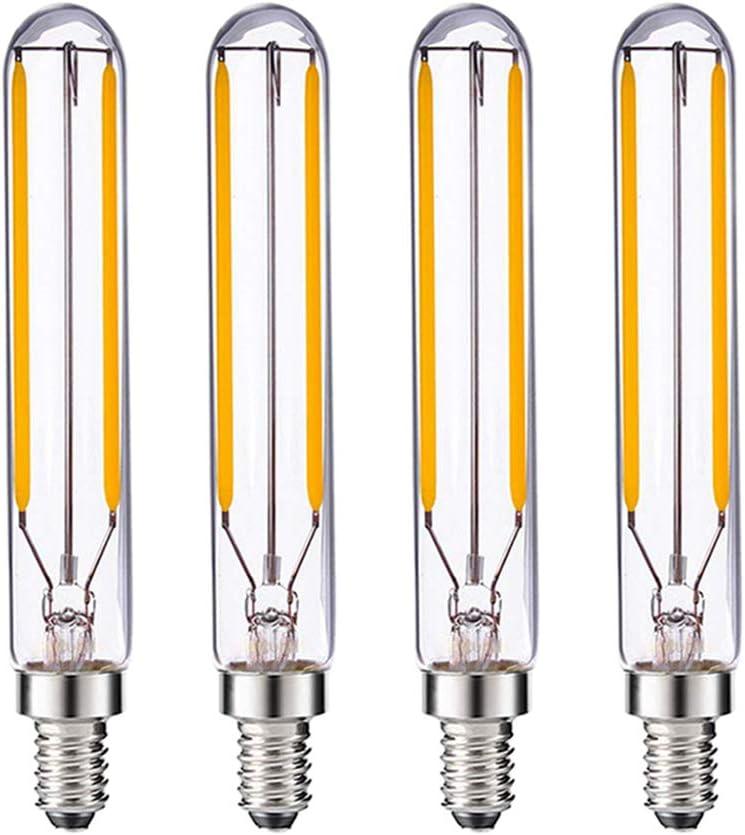 2W T6 Vintage LED Long Filament Bulb Tube 25Watt Equivalent E12 Candelabra LED Bulb Edison Style Light Bulb Dimmable 2700K Warm White 4Pack