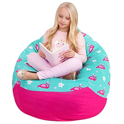 Cool Yayme Pink And Teal Flamingo Girls Stuffed Animal Storage Beanbag Cover Extra Large Size 41 Child Bean Bag Cover Quality Fabric Cute Design Inzonedesignstudio Interior Chair Design Inzonedesignstudiocom
