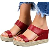 Hosamtel Wedges Shoes for Women Sandals,2020 Summer Open Toe Breathable Beach Sandals Slip-On Straw Casual Wedges Shoes