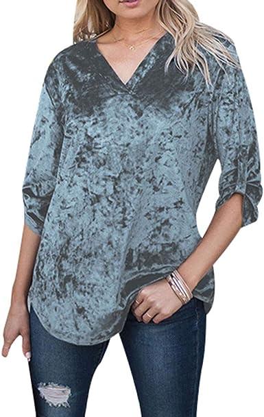Juleya Blusa de Terciopelo para Mujer Top Vintage Casual Tops Sueltos Elegante Blusa con Cuello en V Manga Larga Camisa Suéter Blusa Tops: Amazon.es: Ropa y accesorios