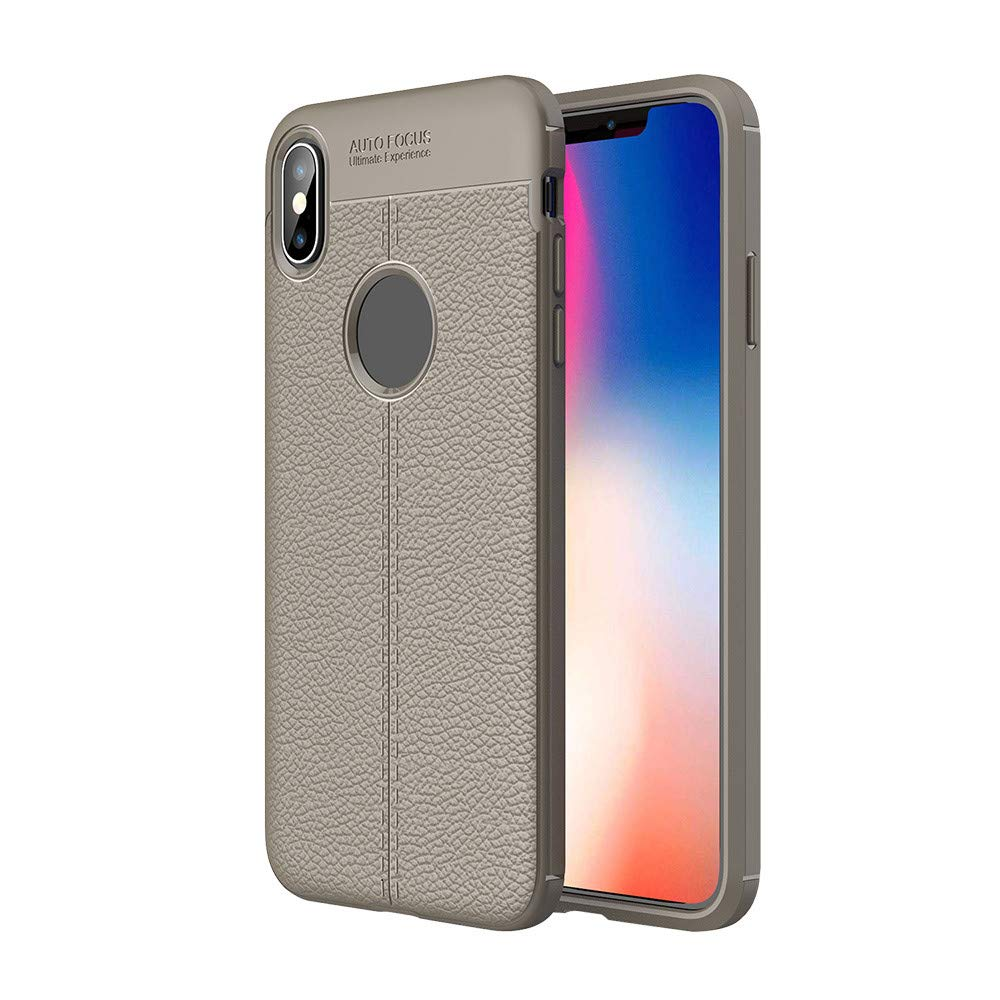 Leather Cover Ugood 2019 Smart Clear View Mirror Flip Leather Stand Holder Case Cover for iPhone Xs max (iPhone XR, Gray)