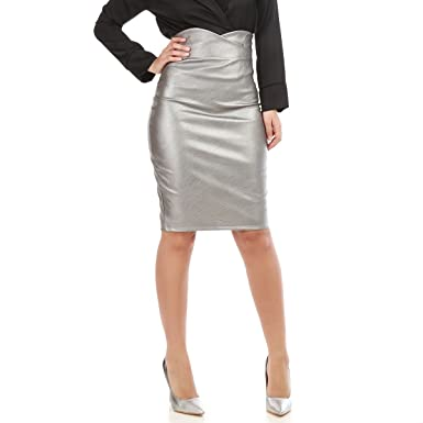 d80ee3592cc3 La Modeuse - Jupe Crayon mi-Longue Taille Haute en Simili Cuir  Amazon.fr   Vêtements et accessoires