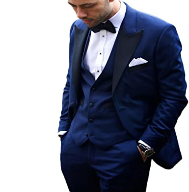 Botong Royal Blue Notch Lapel Men Suit 3 Pieces Wedding Suits Groom ...