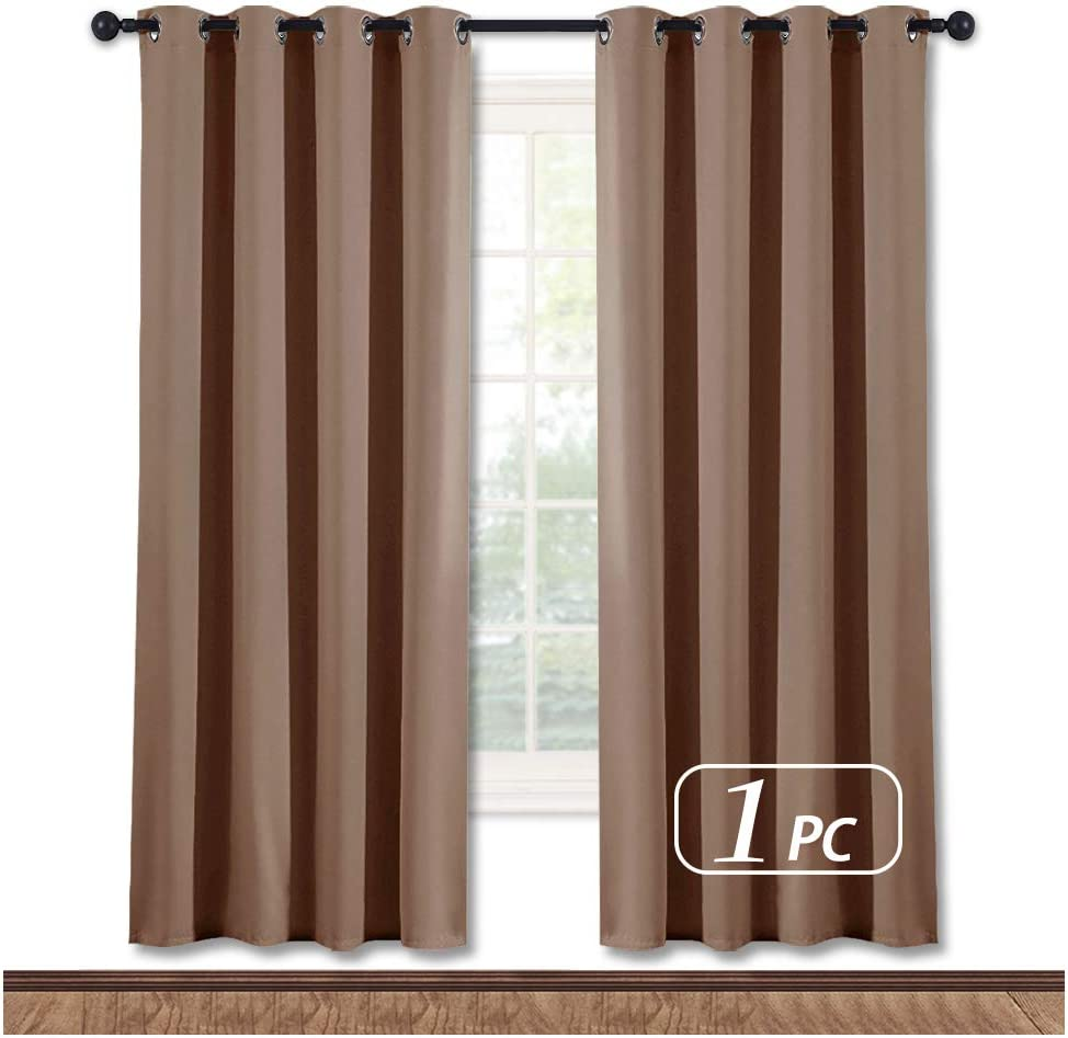 NICETOWN Kitchen Blackout Curtain and Drape - Triple Weave Energy Saving Thermal Insulated Solid Grommet Blackout Panel for Patio (Single Panel, 52 inches by 72 inches, Cappuccino)