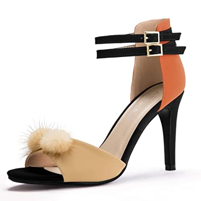 d5f77b973010 Allegra K Women s Color Block Pom Pom Decor Stiletto Heels (Size US 5.5)  Ochre
