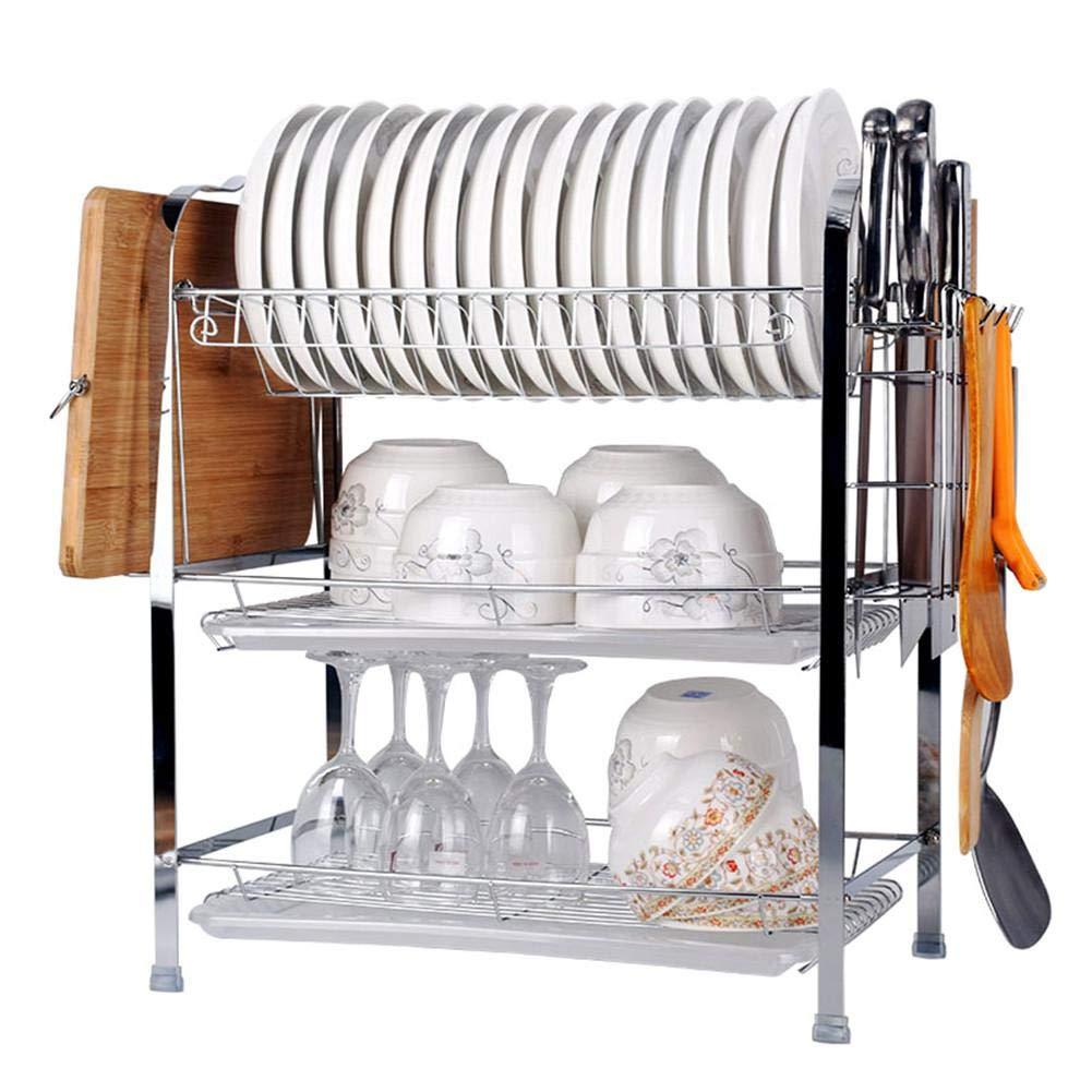 Desirabely-Kitchen 3-Tier Geschirrablage-Rackhalter aus Edelstahl mit Ablagefach