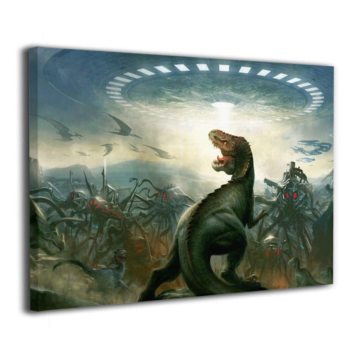 Amazon Com Lqz Paint Dinosaurs Vs Aliens Canvas Painting Home Decor