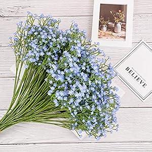 Yunuo 12PCS Artificial Baby Breath/Gypsophila Silk Flower Wedding Bridal Bouquet Home Party Decor Gift (Light Blue) 4