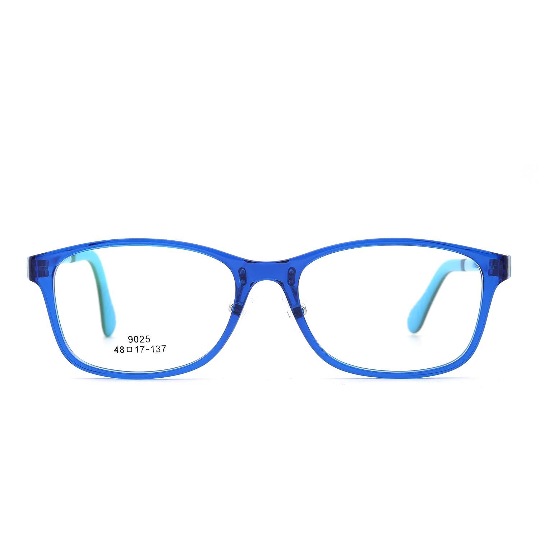 Kids Rectangle Eyeglasses Optical TR Frame Girls Boys Non-Prescription Clear Lens 9025C47