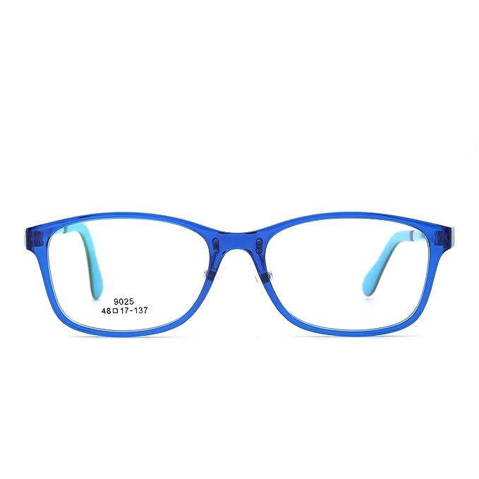 86a121fd8c Kids Rectangle Eyeglasses Optical TR Frame Girls Boys Non-Prescription  Clear Lens (Blue
