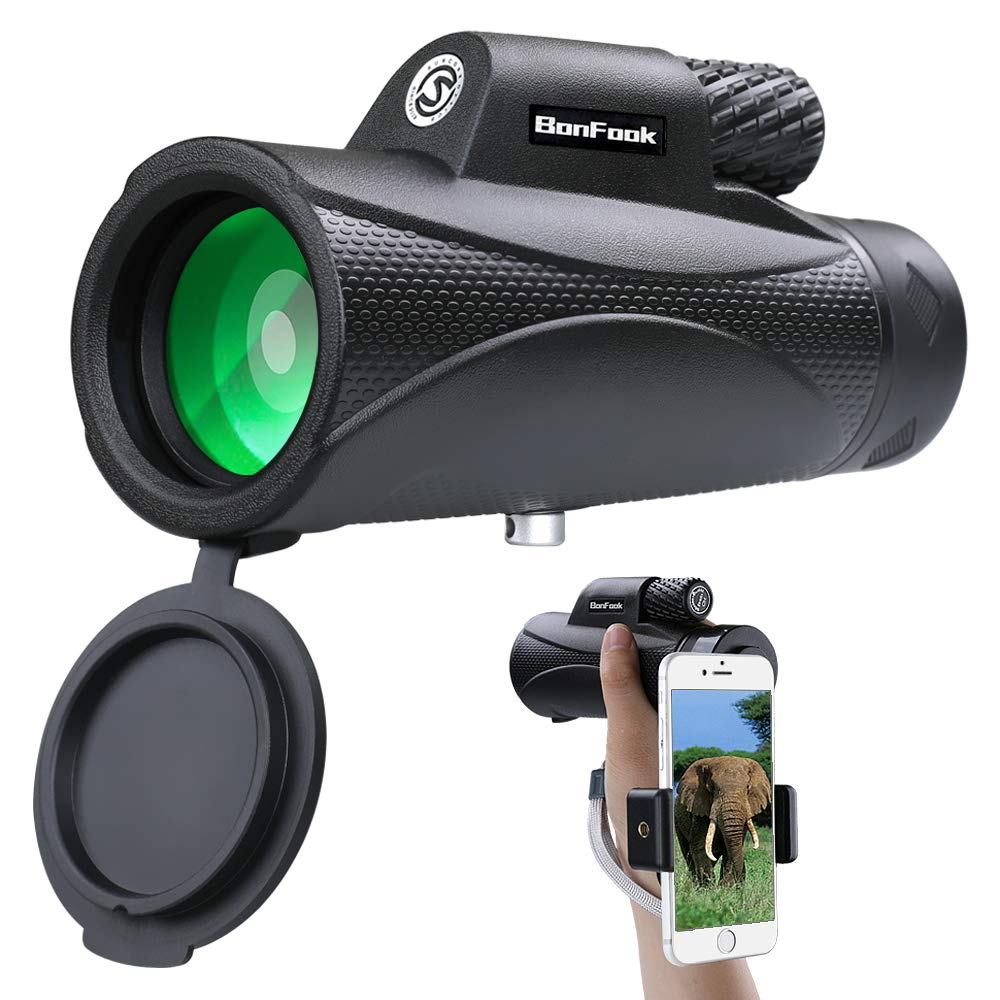 BonFook 10x42 HD Portable Monocular Telescope with Smartphone Holder Waterproof Monocular BAK4 Prism FMC Lens for Bird Watching Hunting Camping